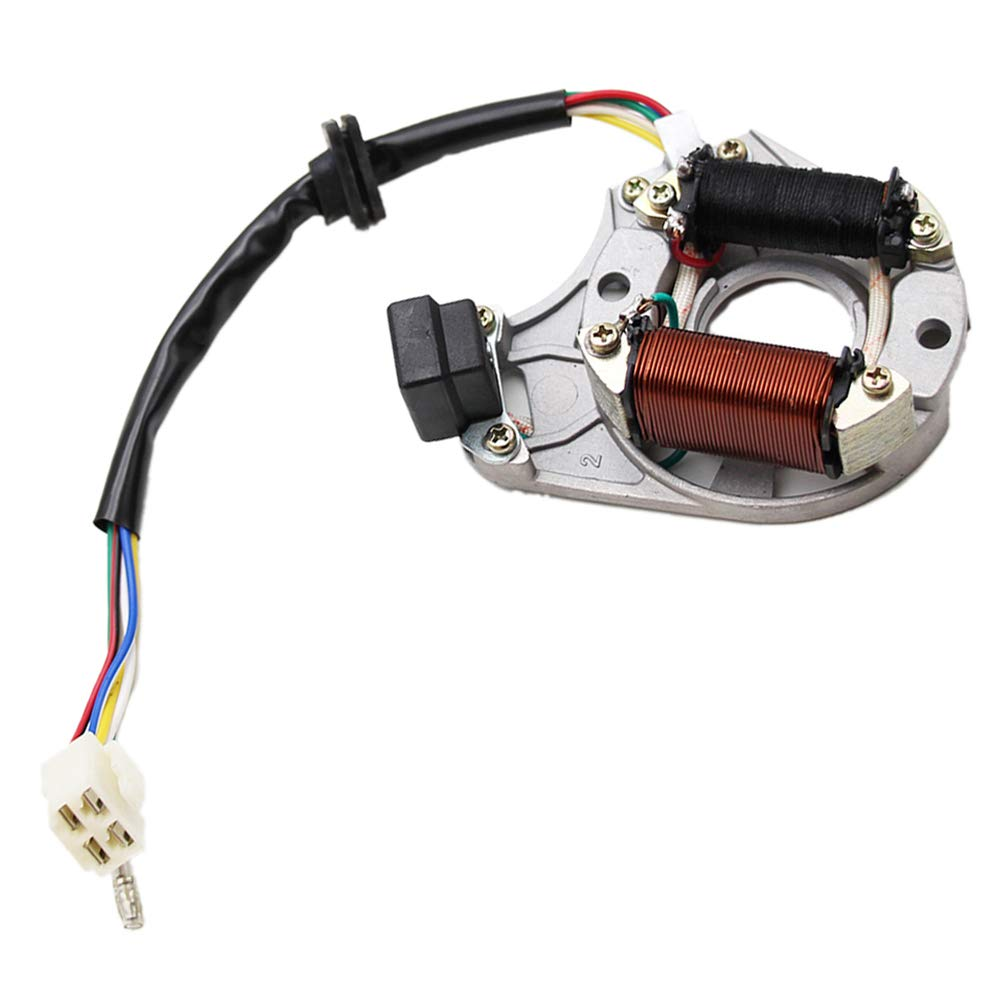 125cc ATVs Magneto Stator Plate Rotor 90cc Go-Karts Choppers PRO BAT Pocket Bikes 70cc Dirt Bikes 110cc ATV Qaud Stator Ignition Magneto Plate 2 Coils 5Wires for Chinese made 50cc 100cc