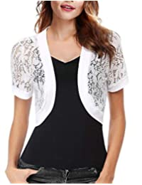 i-Auto Time Women Short Sleeve Floral Lace Shrug Open Front Bolero Cardigan Jacket