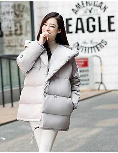 out Coat Others Solid Women's Print l TT Acrylic amp;SHANGYI pink Striped Simple Active Going blushing Sleeves Polypropylene Down Long Cotton WOtW0cq1w