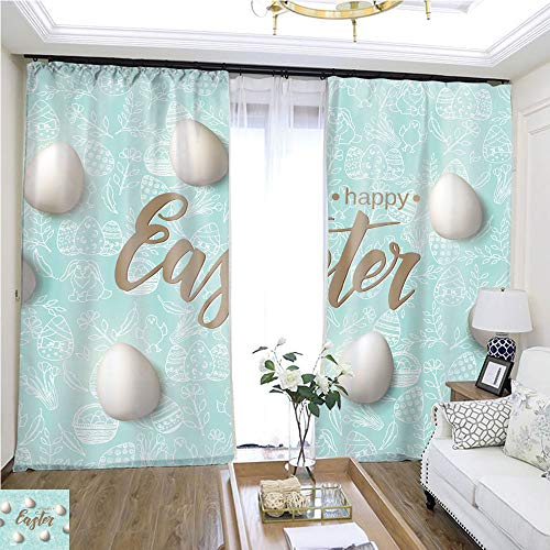 Children Curtain Easter Poster with Eggs Hand Made Trendy Lettering Happy Easter on Blue Pattern with paschal Symbols in Sketch Style Banner Flyer brochure Background for Holidays Postcards websites -
