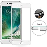 Blaspheme Premium Quality 9H 5D Screen Protector, [Full Coverage][2.5D Round Edge][Anti-Scratch][HD Clear] Tempered Glass for Apple iPhone 7 Plus / 8 Plus (1 Pack, White)