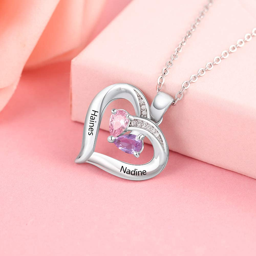 Personalized Mothers Necklace with 2 Heart Simulated Birthstones Necklaces Couples Pendant Necklace for Women Promise Necklace for Her Anniversary Gifts for Women