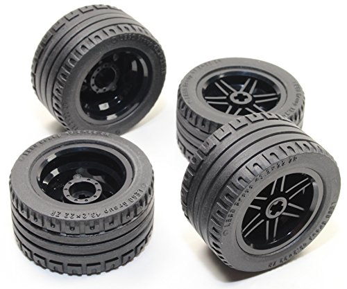 Axle Tyre - LEGO 8pc Technic BLACK Wheel and Tire SET (Mindstorms nxt ev3 tyre) 56145 44309