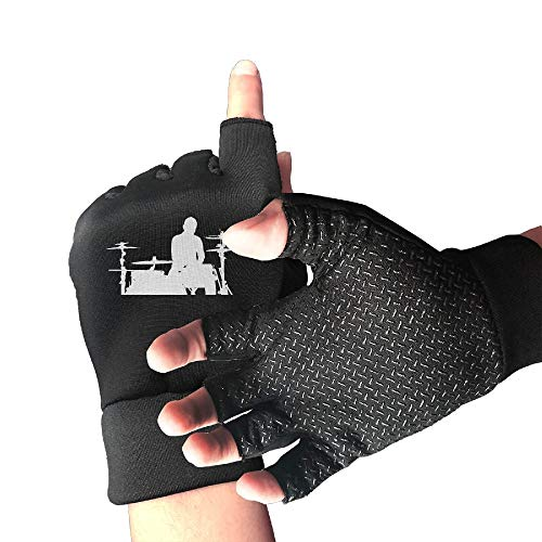 - Mountain Bike Slip-Proof Silhouette of The Drummer and Drums Half Finger Short Gloves Outdoor Sports Working Gloves