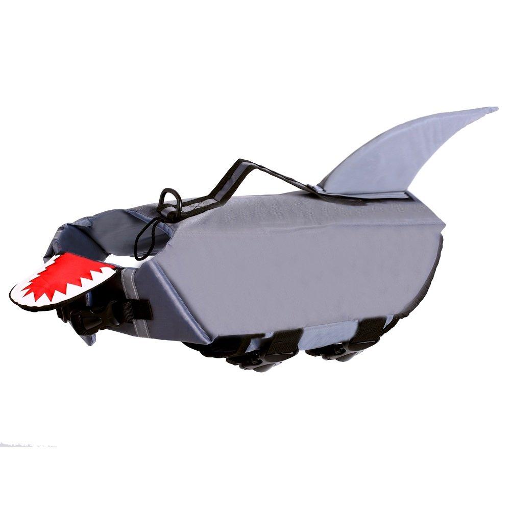 QBLEEV Reflective Dog Life Jacket Shark,Pet Floatation Vest Float Coat, Quick Release Lifesaver Preserver Swimming Suit with Stripes Adjustable Belt for Water Safety at Beach Pool Boat (Grey XL)