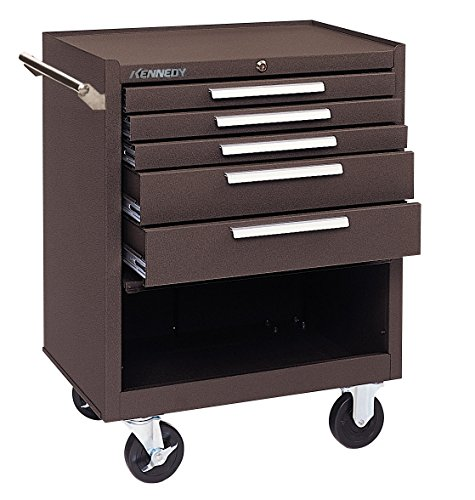 Kennedy Manufacturing 275Xb 5-Drawer Roller Tool Cabinet With Chest Wheels And Ball-Bearing Slides, Brown Wrinkle Drawer Heavy Duty Tool Cart