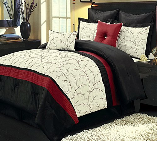 Comforter Set 12 Piece Luxury Complete Bed in a Bag Queen Size (90x92) - with Sheets Bed Skirt and Decorative Pillows - Modern Branches Vines Embroidered Pattern Oversized Bedding Red and Black