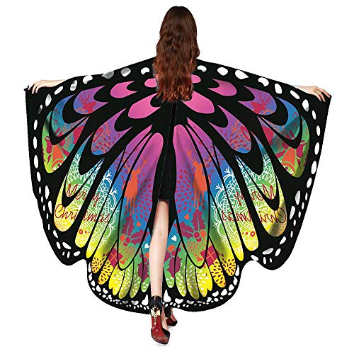 ASfairy Butterfly Wings Shawl Scarves, Women Cape Scarf Fairy Poncho Wrap Pixie Poncho Halloween Costume Accessory (Xmas-MR)