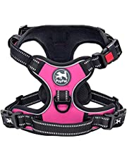 PoyPet No Pull Dog Harness, No Choke Reflective Oxford Outdoor Vest, Adjustable Pet Harnesses with 2 Leash Clips, No Choke Reflective Oxford Outdoor Vest, Easy Control Padded Handle for Small Medium Large Dogs
