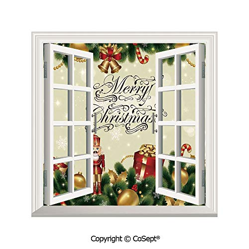 - SCOXIXI Removable Wall Sticker,Noel Ornaments with Birch Branch Cute Ribbons Bells Candy Canes Art Image,Window Sticker Can Decorate A Room(26.65x20 inch)
