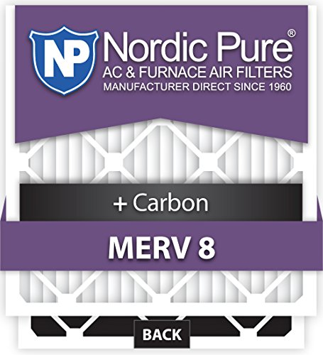 Nordic Pure 18x18x1M8+C-6 MERV 8 Plus Carbon AC Furnace Air Filters, Qty 6