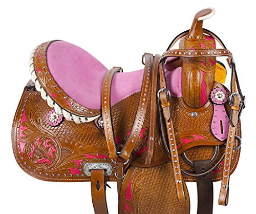 "(AceRugs 14"" 15"" 16"" Pink Cowgirl Hand Painted Western Trail Barrel Racing Rodeo Show Leather Tooled Horse Saddle TACK Set (14))"