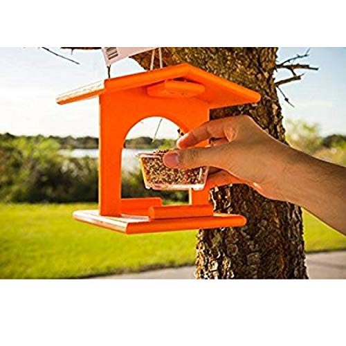 DutchCrafters Amish Poly Plastic Outdoor Oriole Bird Feeder, Single Removable Jelly Jar Feeding Cup, USA Made, Bright - Grape Jelly Feeder Oriole