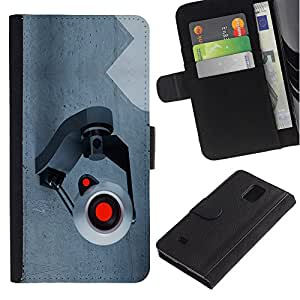 Billetera de Cuero Caso Titular de la tarjeta Carcasa Funda para Samsung Galaxy Note 4 SM-N910 / Spy Camera Webcam / STRONG