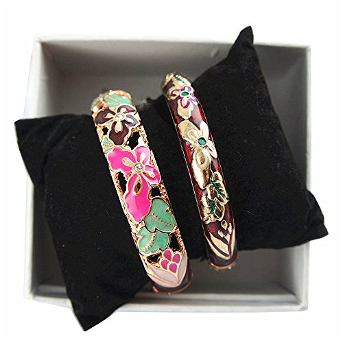- UJOY Fashion Cloisonne Bracelets Gold Plated Beautiful Enameled Butterfly Women's Gifts Bangles Spring Hinged 88A09 Wine red