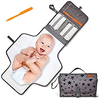 Portable Changing Pad   Easy-to-Use Waterproof Changing Pad for Diaper Duty — Extra Thick Cushion in Baby Changing Pad for Comfort — Portable Changing Mat When Out & About — Baby Changing Mat Portable