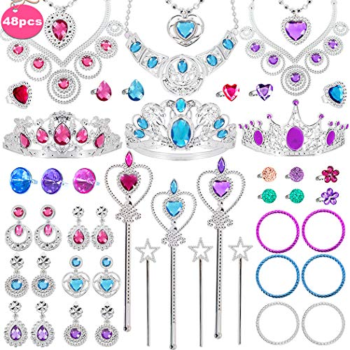 Tagitary 48 Pack Princess Pretend Jewelry Toy,Jewelry Dress Up Play Set for Girls Included Necklaces Wands Rings Earrings and Bracelets, Pretend Play Jewelry Set for Girls