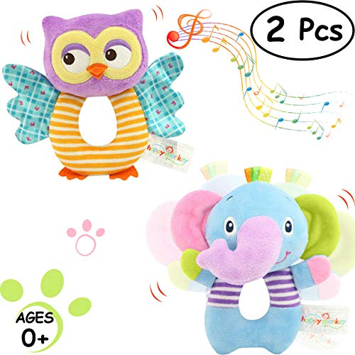 Baby Rattles Cartoon Stuffed Animal Hand Rattle Plush Developmental Toys - Owl and Elephant