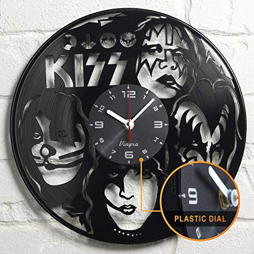 KISS Vinyl Wall Clock Rock Music Home Decor Modern Wall Art Unique Vinyl Record Clock Rock Band Home Decorations Gift for Him Birthday Retro Music Vinyl Art Hard Rock Wall Artwork Poster Black - Records Band