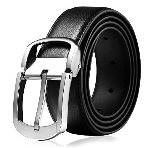 Vbiger Genuine Leather Belt Reversible Waist Strap Pin Buckle Belts for Men with Gift Box (48''long, Black21)