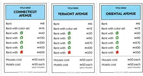 Monopoly Light Blue Deed Cards - Connnecticut Avenue, Vermont Avenue, Oriental Avenue by Hasbro: Amazon.es: Juguetes y juegos