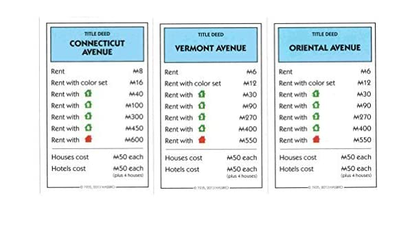 Monopoly Light Blue Deed Cards - Connnecticut Avenue, Vermont Avenue, Oriental Avenue by Hasbro: Amazon.es: Juguetes y juegos
