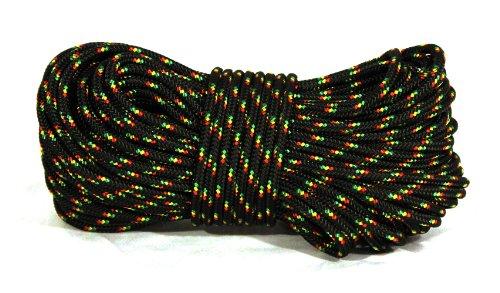 "3/16"" (4.5mm) Rhythm Traders Djembe Rope 100 feet - Black with Red, Gold, & Green Flecks"