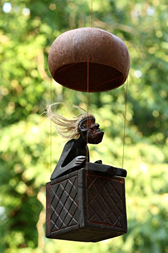 Handmade-Wooden-Primitive-Tribal-Statue-Riding-Hot-Air-Balloon-Tiki-Bar-Handcrafted-Gift-Home-Decor