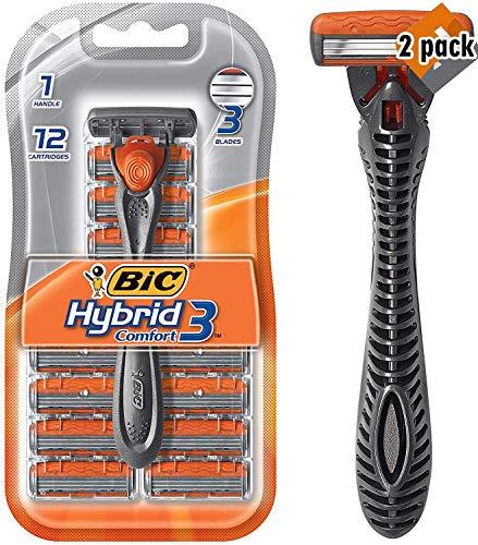 BIC Comfort 3 Hybrid Men's Disposable Razor, One Handle, 12 Cartridges - 2 Pack