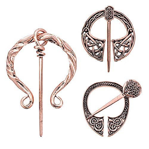 Vintage Viking Brooches Pins Set of 3, Women Girls Scarf Shawl Cloak Leg Wrap Clasp Pin Brooch, Medieval Penannular Celtic Large Buckle Brooch, Rose Gold Clothes Accessories Decorative Fashion ()