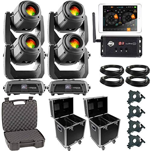 (4) Chauvet DJ Intimidator Spot 375Z IRC Moving Head Spots with American DJ myDMX Go Wireless App & 140 Style Lighting Cases Package (Best Irc App For Android)