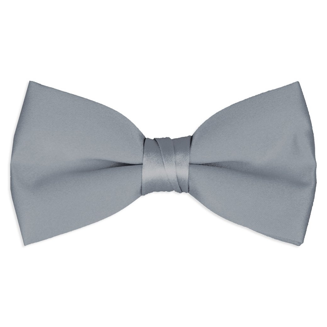 Boy's Solid Color Banded Satin Bow Ties - Silver
