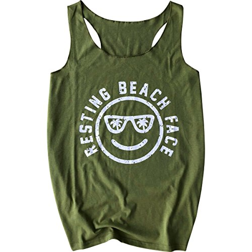 Graphic Tee Work Best (LANMERTREE Women's Graphic Tees Sleeveless Funny Workout Letters Print Tank Top T-Shirt (Green, S))