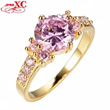 Slyq Jewelry Brand New Pink Zircon LWedding Finger Ring anel T Yellow Gold Filled Ring Size 7/8/9 R7C1455