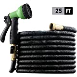 """EnerPlex [2019 Upgraded] X-Stream 25 ft Non-Kink Expandable Garden Hose, 10-Pattern Spray Nozzle Included, 3/4"""" Brass Fittings with Shutoff Valve, Best 25' Foot Garden Hose - 2 Year Warranty - Black"""