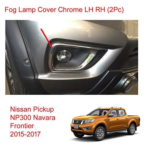 Powerwarauto Chrome Lh Rh Fog Lamp Light Spot Lights Cover Trim Fits Nissan Np300 Navara D23 Medium Chrome Medium Chrome