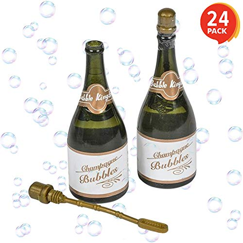 ArtCreativity Champagne Bubble Blowing Wands for Kids - Set of 24 - 3 Inch Mini Bubble Blower Bottles - Solution Included - Great Birthday Party Favors, Goody Bag Fillers, Gift Idea for Boys and Girls
