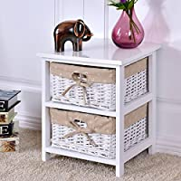 New MTN-G Night Stand 2 Layer Bedside End Table Organizer Bedroom Wood W/2 Basket