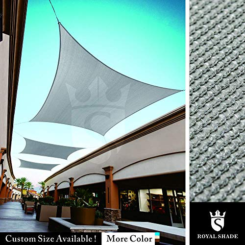 Royal Shade Custom Size Order to Make Sun Shade Sail Canopy Mesh Fabric UV Block Rectangle – Commercial Standard Heavy Duty – 200 GSM – 5 Years Warranty 10 x 18 , Grey