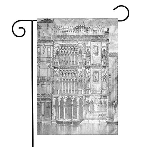 Mannwarehouse Antique Garden Flag 19th Century Engraving of Grand Canal Venice Monument Landmark Illustration Print Premium Material W12 x L18 Black White