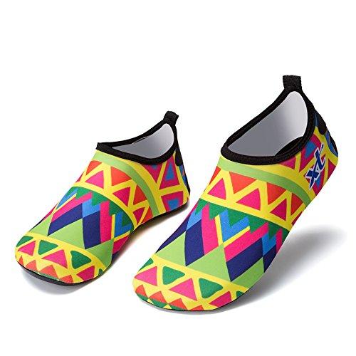 Zapatos Natación de el vadeando de Suave Buceo Zapatos Cutáneo Descalzo acuático Yellow Parche Zapatos Playa Esquí FrqF5w