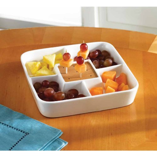Food Server Display Plate – Multi Sectional Compartment Serving Tray – White Ceramic Square Appetizer and Snack Serving Tray with Bamboo Toothpick Holder - Divided Porcelain
