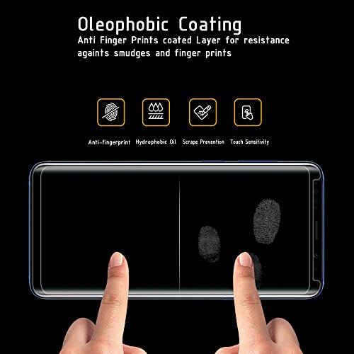 Galaxy S8 Screen Protector [Full Glue] [3D Curved Edge] [Anti-Scratch] [Auti-fingerprint] [High Definition] [9H Hardness] Tempered Glass Screen Protector for Samsung Galaxy S8- Black by ClarksZone (Image #4)