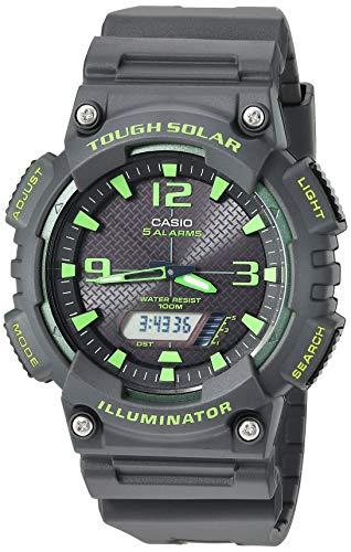 Casio Men's Tough Solar Stainless Steel Quartz Watch with Resin Strap, Black, 27 (Model: AQ-S810W-8A3VCF)