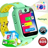 TURNMEON Smart Watch Phone GPS Tracker for Kids Girls Boys Smartwatch with Camera SOS Alarm Wrist Anti-Lost Bracelet Children Holiday Birthday Gifts Travel Camping (S6-Green)