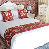 YIH Bed Runner and Pillow Set Red Floral, Quilted Cozy Pet Protector Dog Covers for Bed, 70'' x 19''
