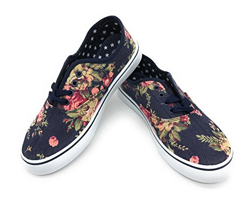 EASY21 Women Canvas Round Toe Lace Up Flat Sneaker Oxford Boat Shoe,Dark Denim Floral,Size 8.5]()