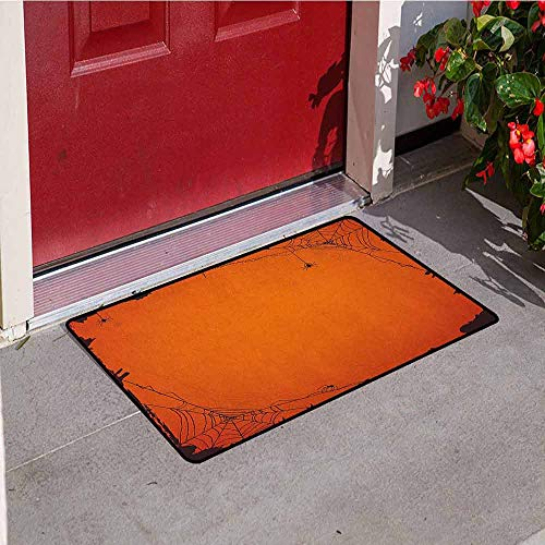 GloriaJohnson Spider Web Front Door mat Carpet Grunge Halloween Composition Scary Framework with Insects Abstract Cobweb Machine Washable Door mat W31.5 x L47.2 Inch Orange Brown
