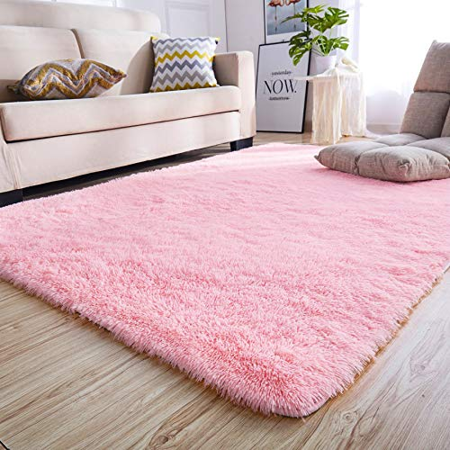 Junovo Rectangle Ultra Soft Area Rugs Fluffy Carpets for Bedroom Living Room Shaggy Floor Rug Home Decor Mats, 4 x 5.3ft, Pink (And Pink Carpet Grey)