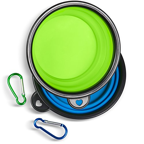 Collapsible Travel Dog Water & Food Bowl Set By Starling's-12 Oz Capacity- Silicone Risk-Free Construction-BPA Free & FDA Approved- D-Ring Included. Portable - Ideal for Traveling, Hiking, or